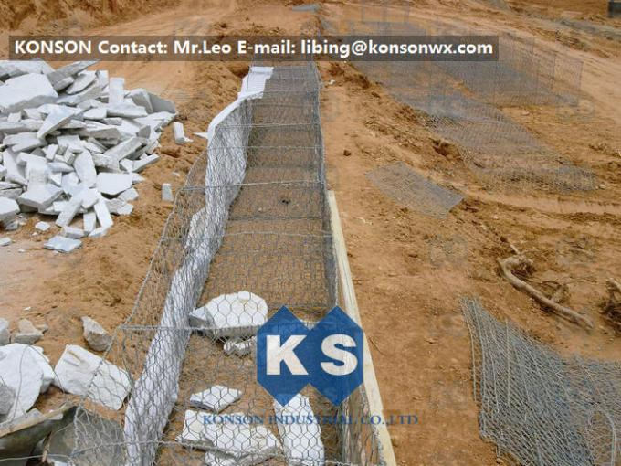 Zinc Galvanised Wire Gabion Boxes / Gabion Cages For Flood Protection Products