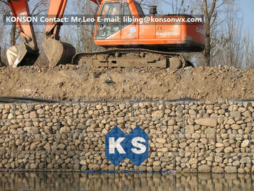 Chiny Zinc Galvanised Wire Gabion Boxes / Gabion Cages For Flood Protection Products dostawca