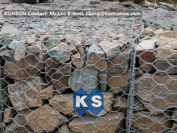 PVC / Zinc Coated Wire Mesh Gabion Retaining Wall , Galvanized Hexagonal Wire Fence